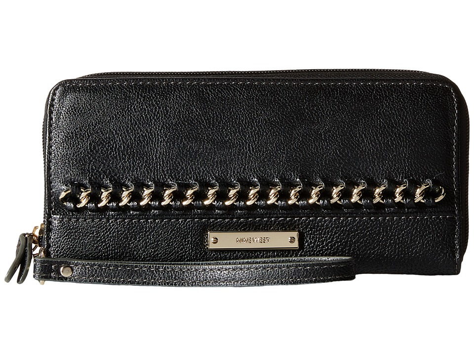 Nine West - Off The Chain Zip Around Wallet (Black) Wallet Handbags