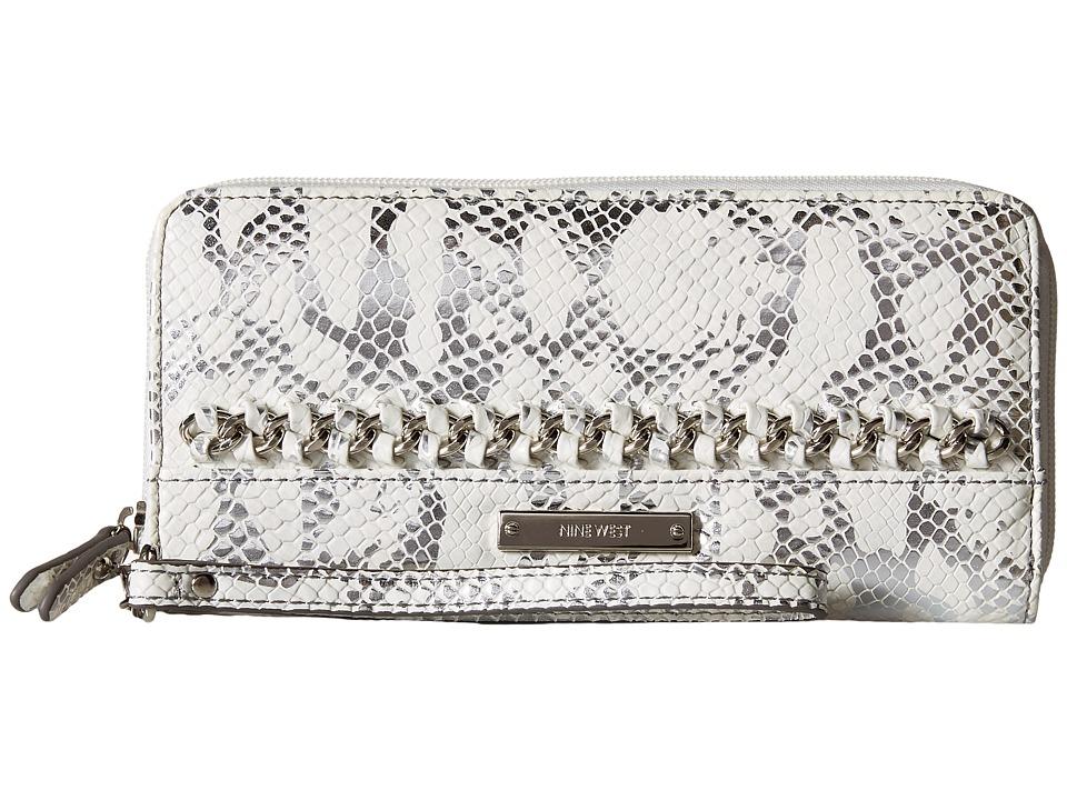 Nine West - Off The Chain Zip Around Wallet (Metallic Snow Petal) Wallet Handbags