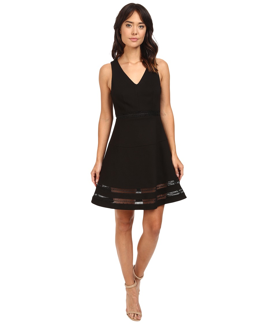 Adelyn Rae - Sleeveless Ponte Knit Fit and Flare Dress (Black) Women's Dress