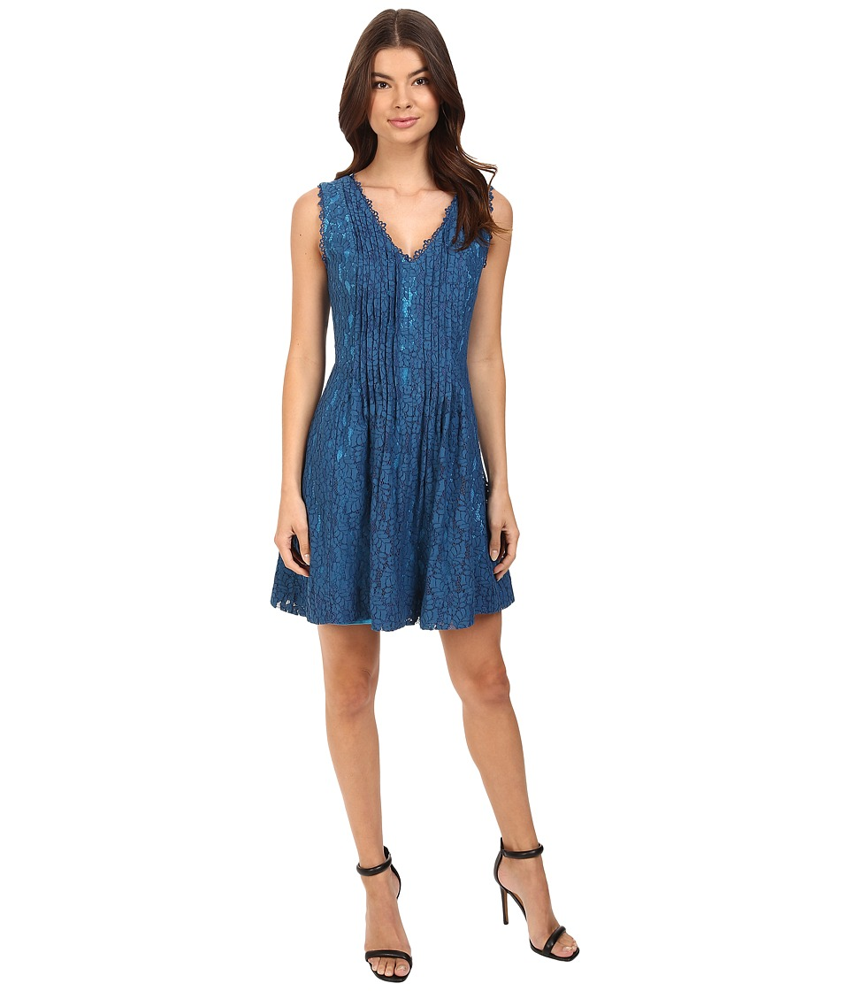 Adelyn Rae Woven Lace Fit and Flare Dress (Petrol Blue) Women