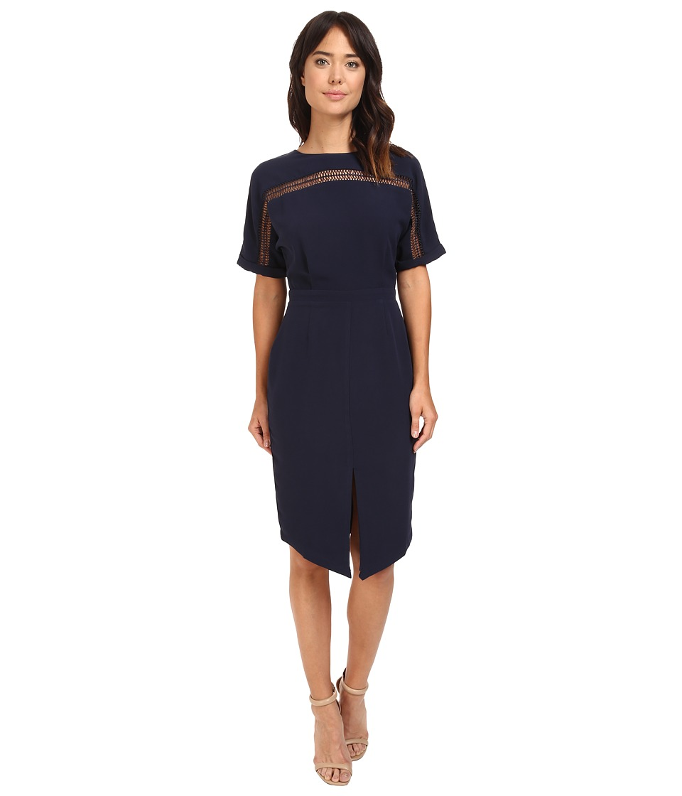 Adelyn Rae - Woven Sheath Dress w/ Kimono Sleeves (Navy) Women's Dress