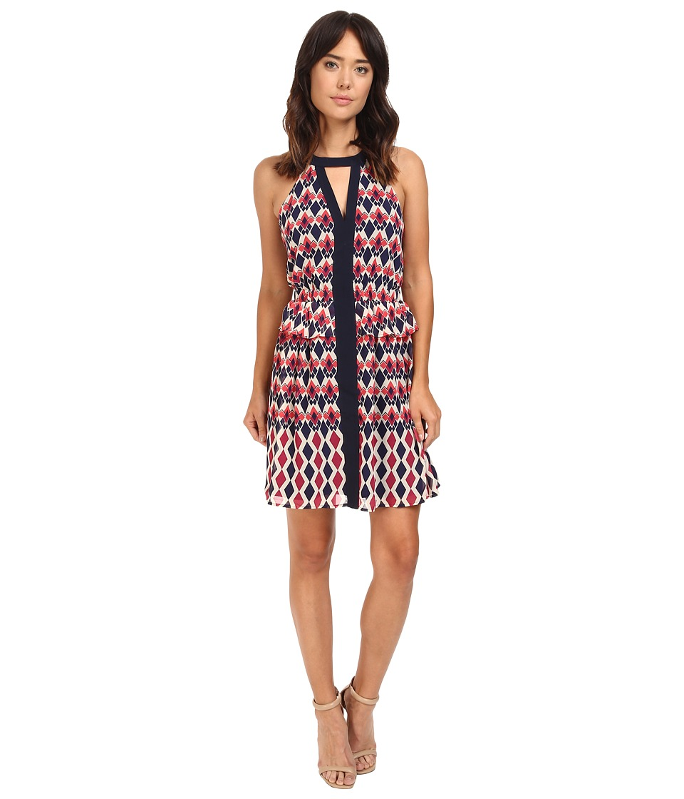 Adelyn Rae - Printed Woven Halter Dress (Berry) Women's Dress