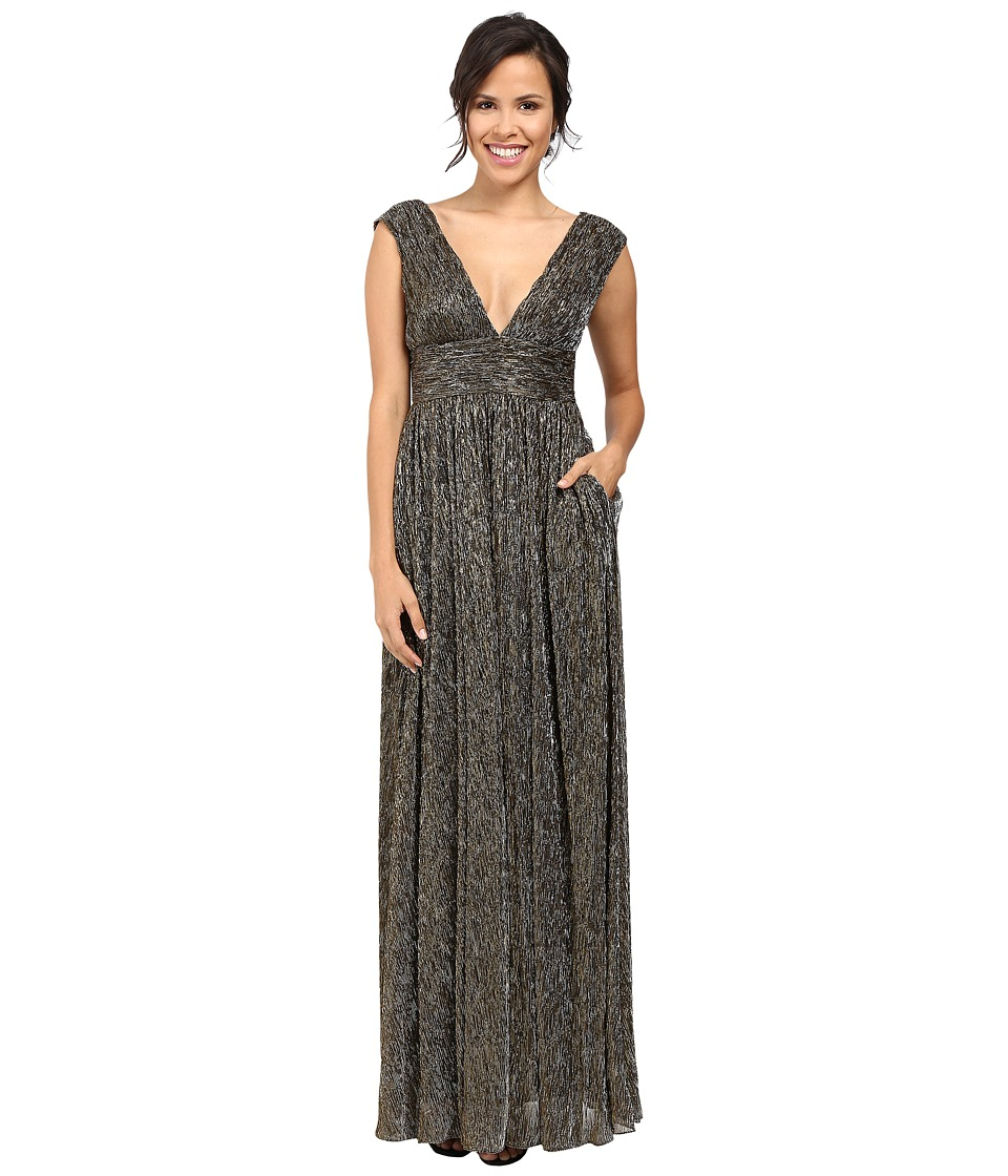 Aidan Mattox Sleeveless Metallic Lurex Long V-Neck Gown Black-Bronze Dress