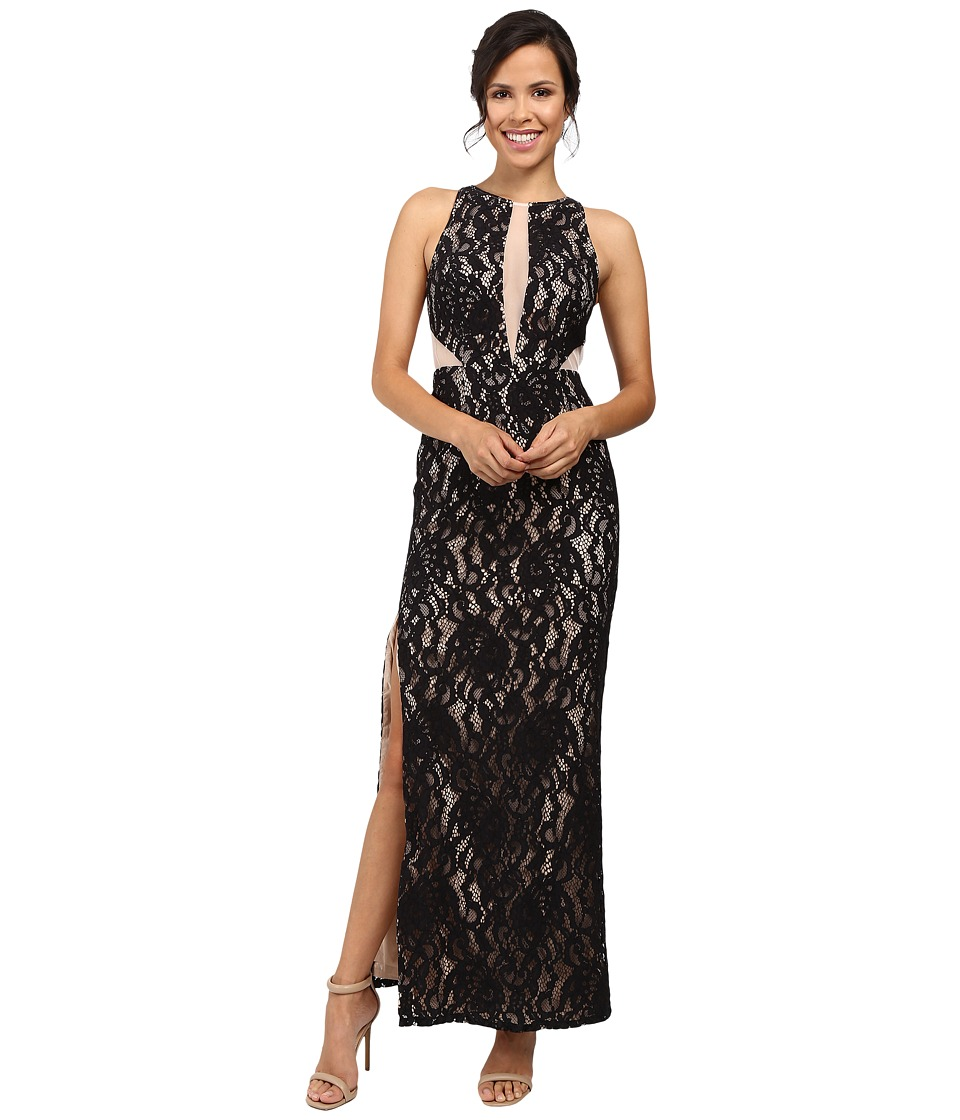 Aidan Mattox Long Stretch Lace Halter Gown w/ Illusion Detail (Black/Nude) Women