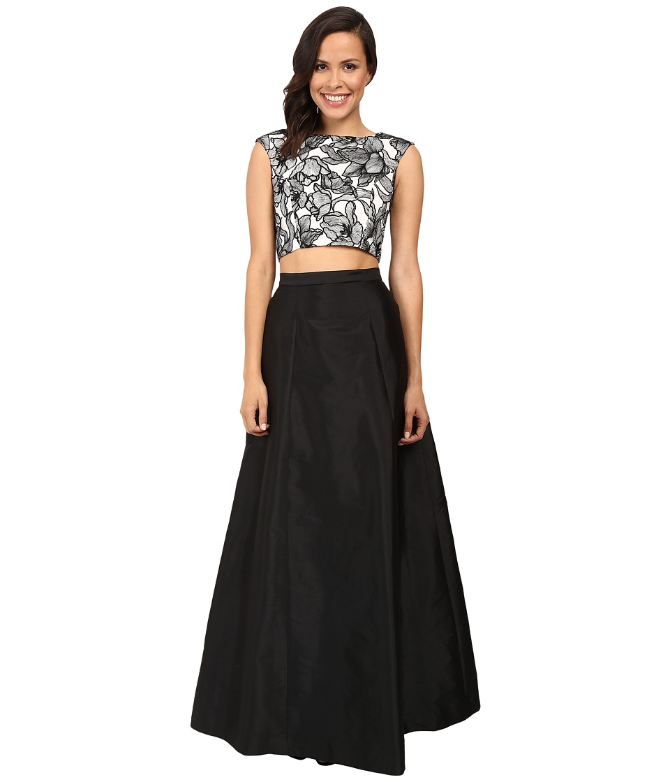 Aidan Mattox Two-Piece Embroidered Cap Sleeve Top A-Line Taffetta Skirt Black-Ivory Dress