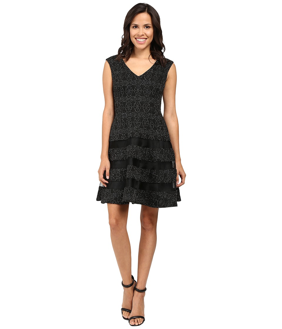 Aidan Mattox Metallic Knit Cocktail Dress w/ Shadow Stripe Detail (Black/Silver) Women