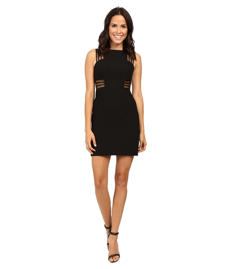 Aidan Mattox - Sleeveless Crepe Cocktail Dress w/ Illusion Mesh Detail (Black) Women's Dress