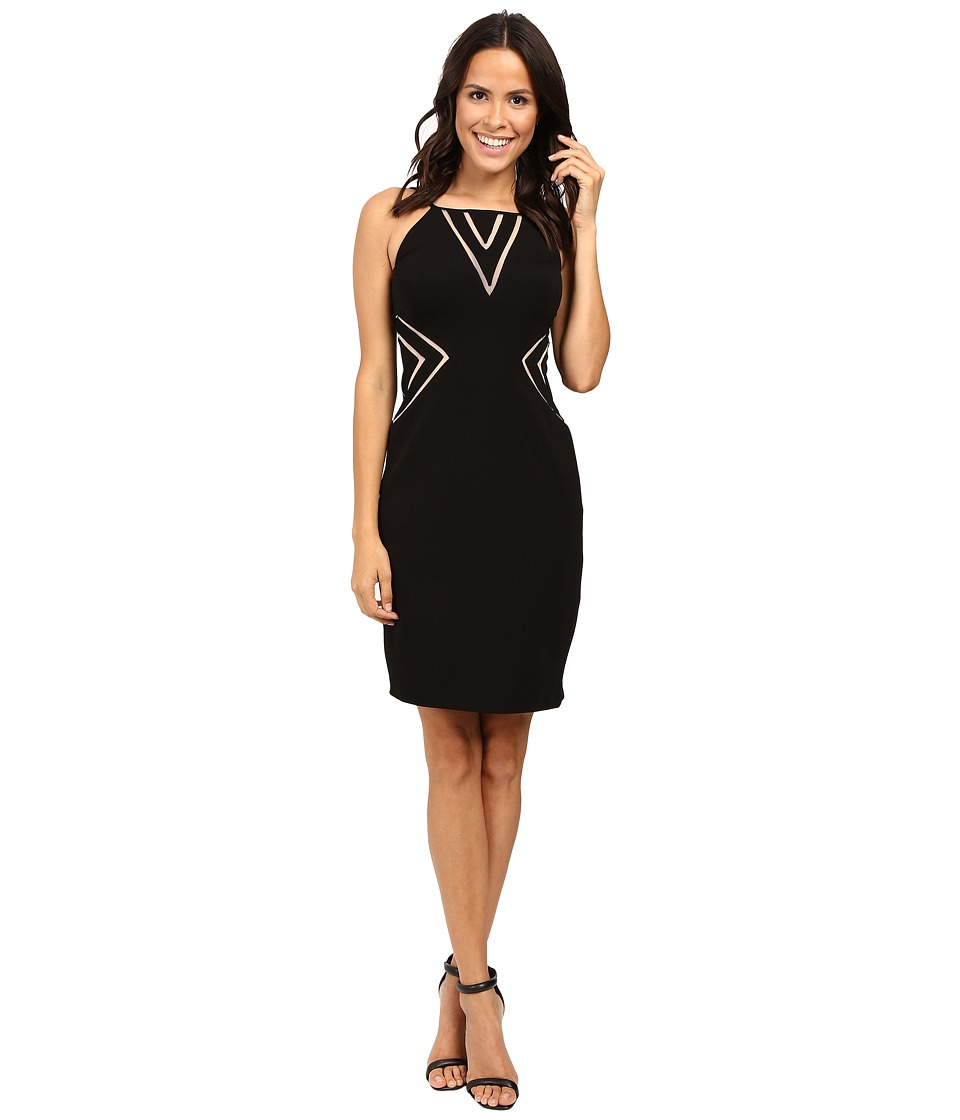 Aidan Mattox Stretch Jersey Halter Cocktail Dress w/ Nude Illusion Cut Out Detail (Black) Women
