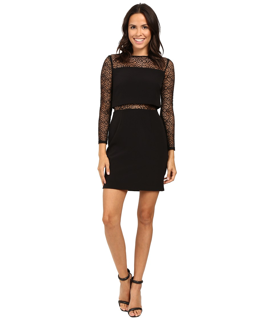 Aidan Mattox Long Sleeve Crepe Dress w/ Pop Over Top and Stretch Lace Detail (Black) Women