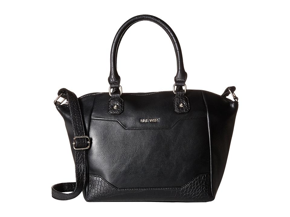 Nine West - Mixt Text Convertible Satchel (Black/Black/Black) Satchel Handbags