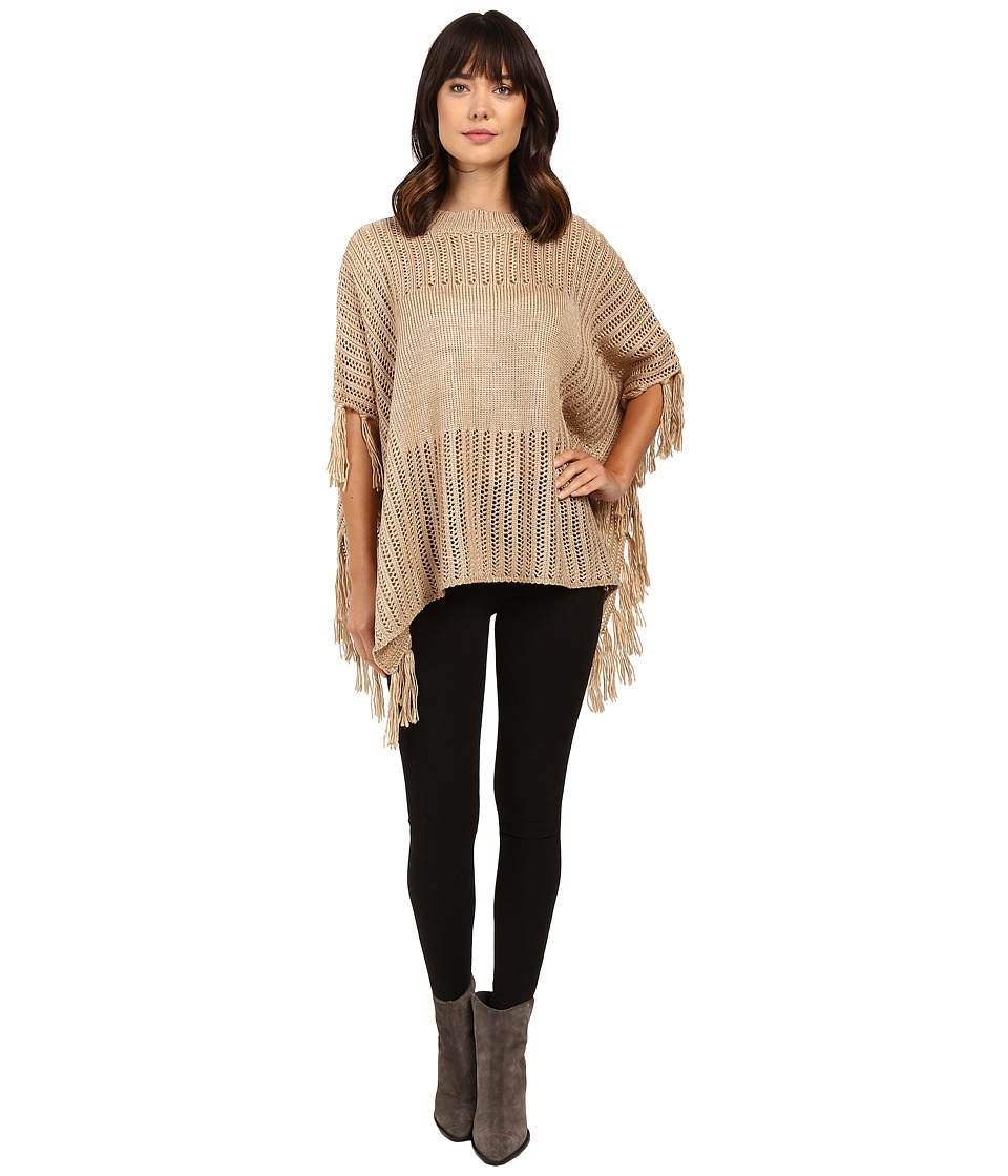 Brigitte Bailey - Ginger Crocheted Poncho with Fringe (Tan) Women's Coat