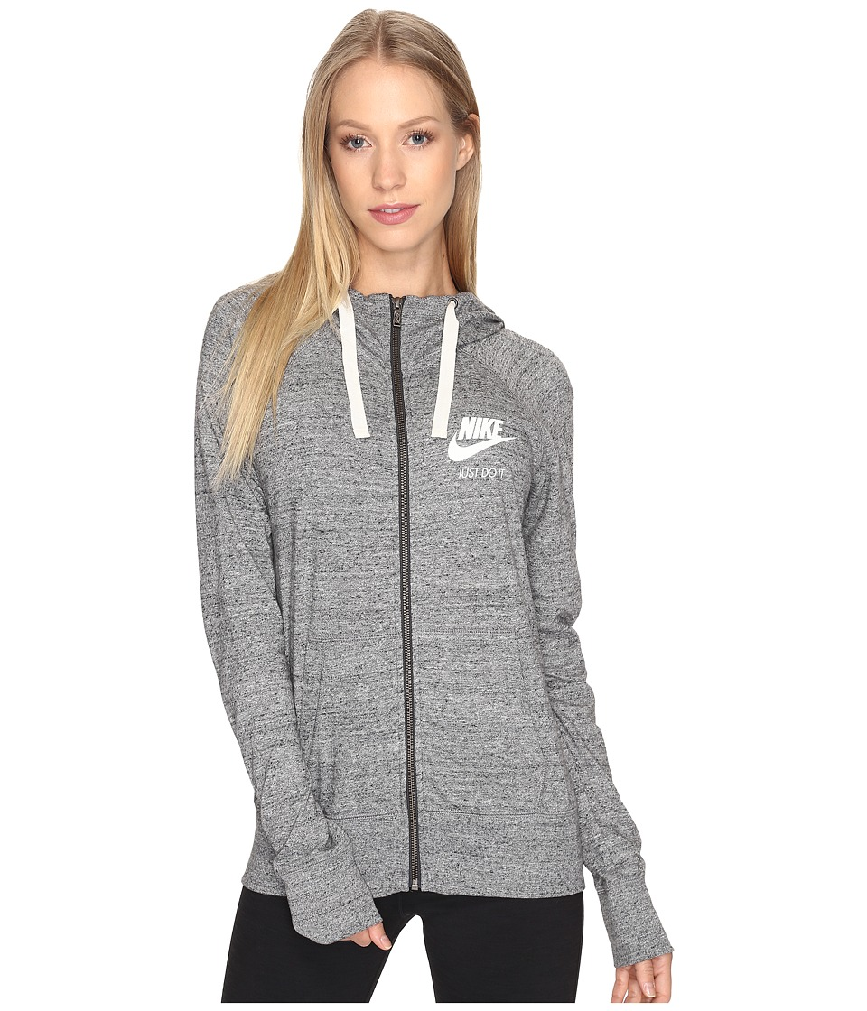 Nike - Gym Vintage Full Zip Hoodie (Carbon Heather/Sail) Women's Sweatshirt