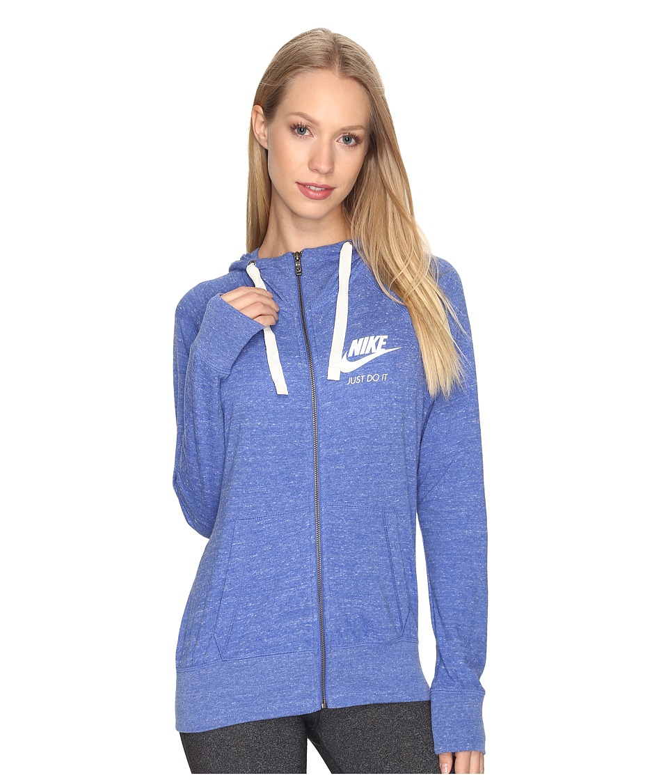 Nike - Gym Vintage Full Zip Hoodie (Comet Blue/Sail) Women's Sweatshirt