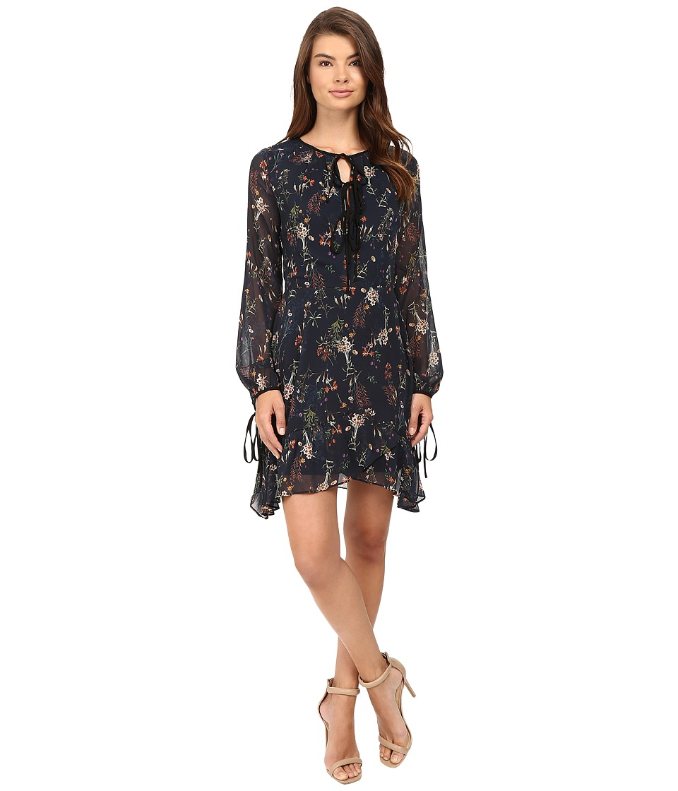 Adelyn Rae - Printed Woven Swing Dress (Navy) Women's Dress