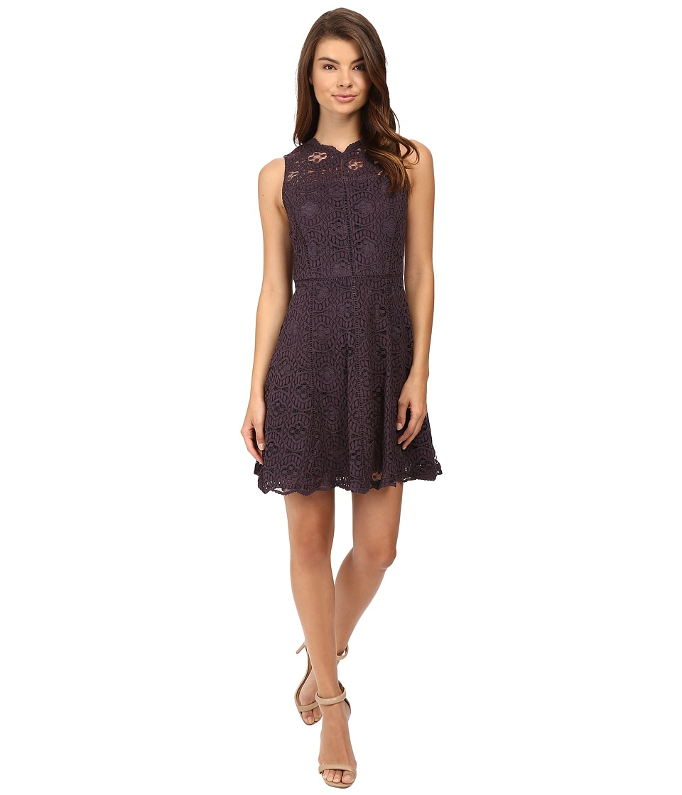 Adelyn Rae - Woven Lace Fit and Flare Dress (Grey) Women's Dress