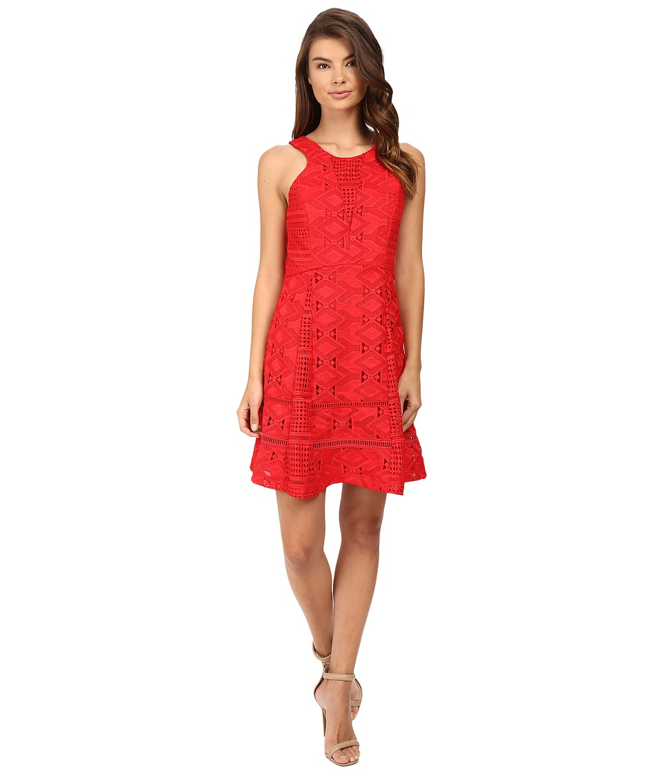 Adelyn Rae - Woven Lace Fit and Flare (Red) Women's Dress