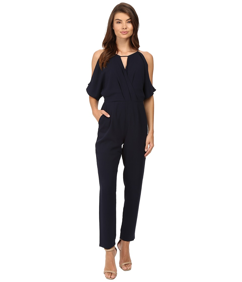 Adelyn Rae - Woven Jacquard Jumpsuit (Navy) Women's Jumpsuit & Rompers One Piece