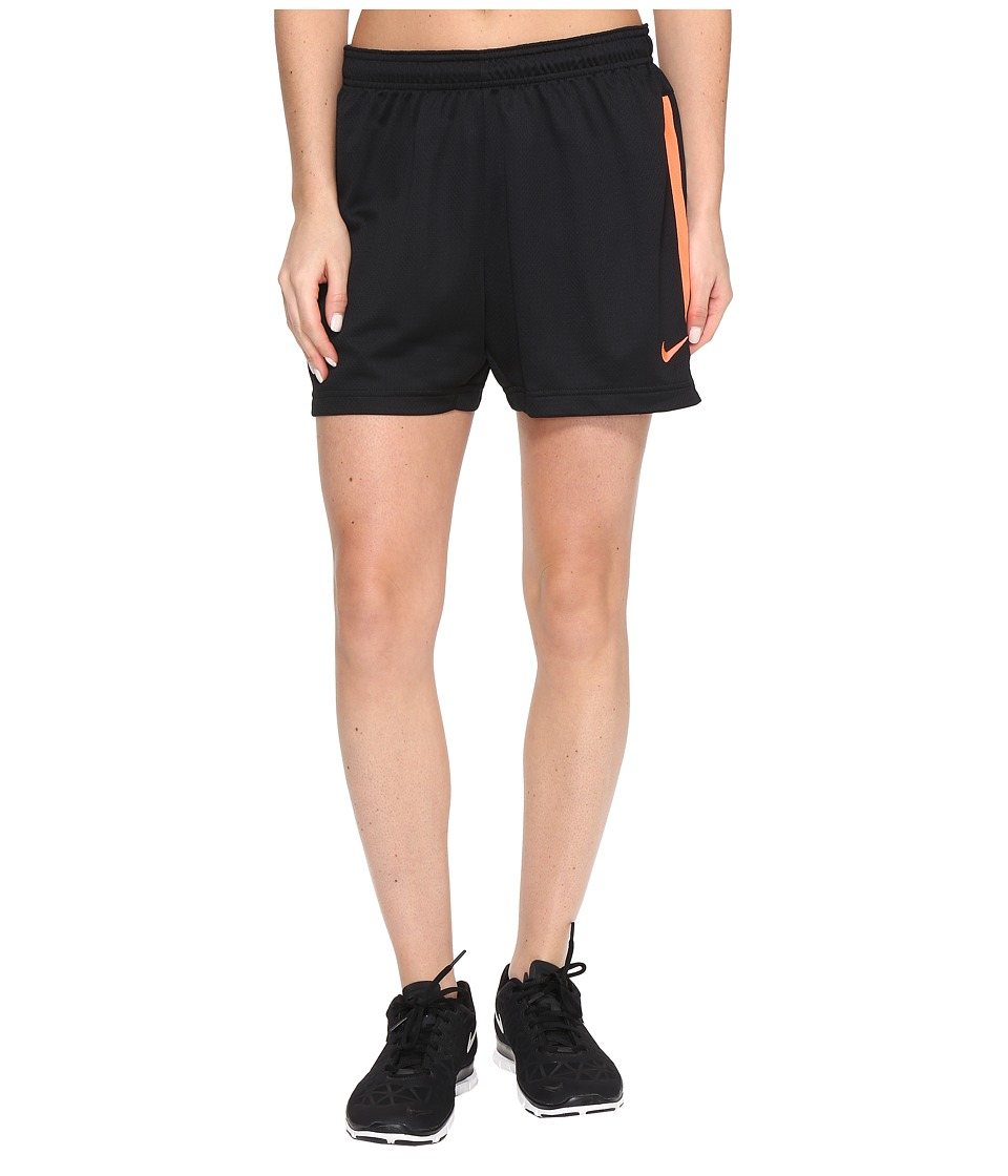Nike - Dri-FIT Academy Knit Shorts (Black/Hyper Orange/Hyper Orange) Women's Shorts