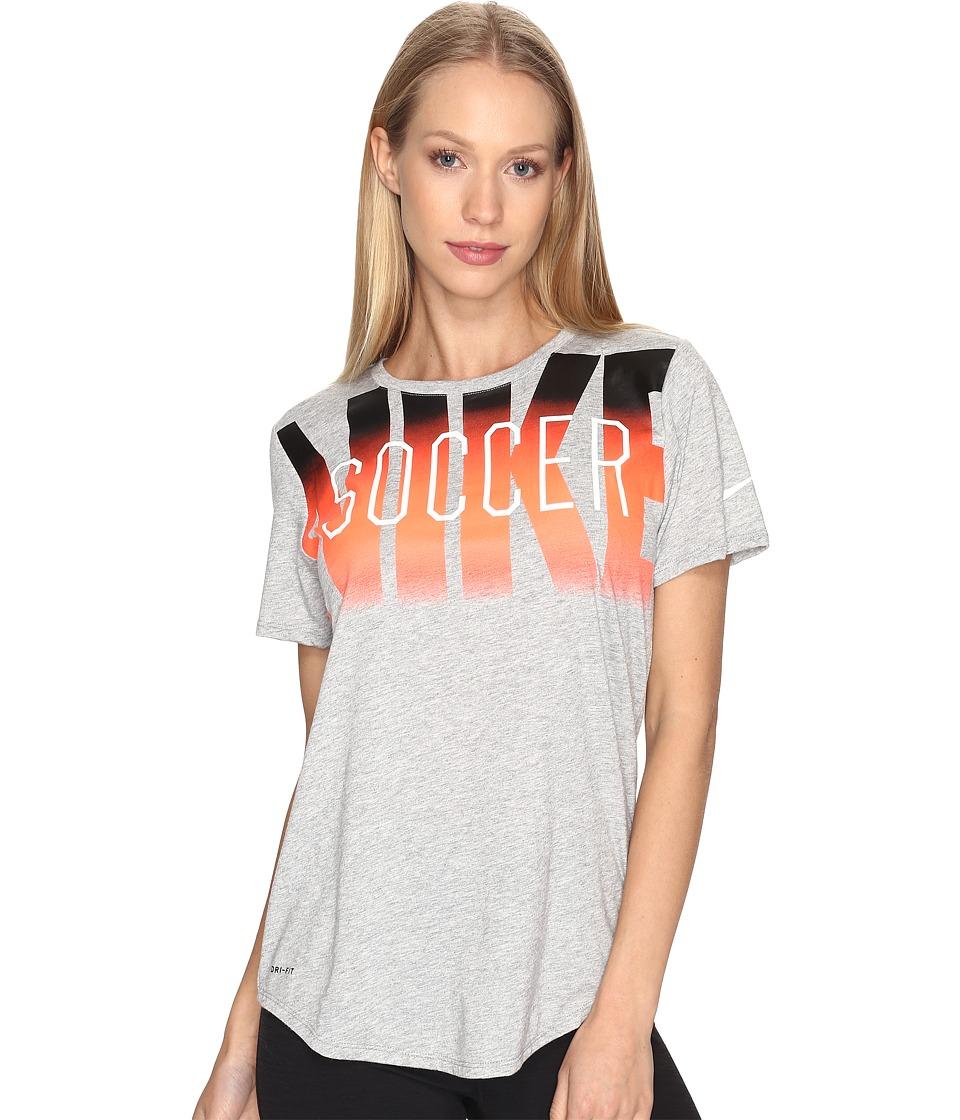 Nike - Dry Soccer Graphic T-Shirt (Dark Grey Heather/Dark Grey Heather/White) Women's T Shirt