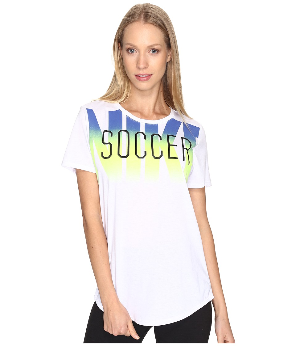 Nike - Dry Soccer Graphic T-Shirt (White/White/Paramount Blue) Women's T Shirt