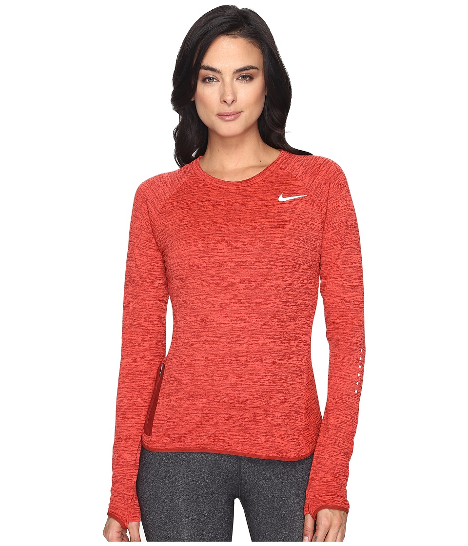 Nike - Therma Sphere Element Crew Running Top (Dark Cayenne/Heather/Reflective Silver) Women's Clothing