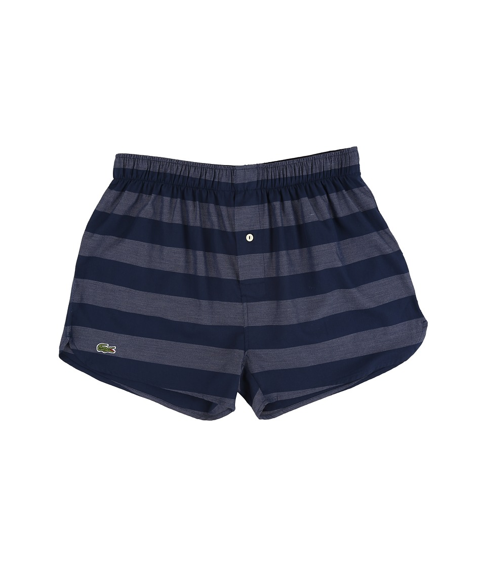 Lacoste - Authentics Wide Bar Stripe Single Woven Boxers (New Navy) Men's Underwear