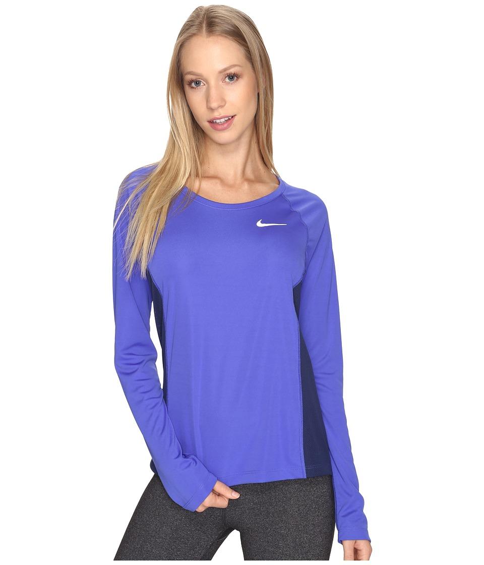 Nike - Dry Miler Long Sleeve Running Top (Paramount Blue/Binary Blue) Women's Clothing