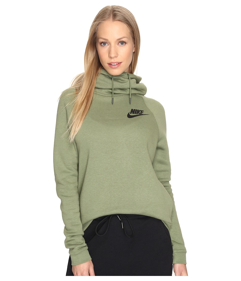 Nike - Sportswear Rally Funnel Neck Sweatshirt (Palm Green/Palm Green/Black) Women's Clothing