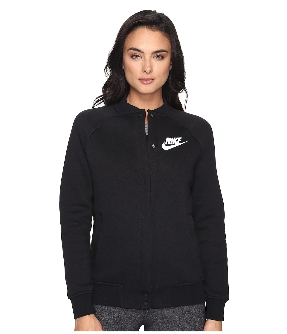 Nike - Sportswear Varsity Jacket (Black/Black/White) Women's Coat