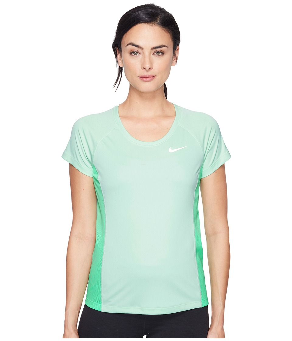 Nike - Dry Miler Short Sleeve Running Top (Fresh Mint/Electro Green/Reflective Silver) Women's Clothing