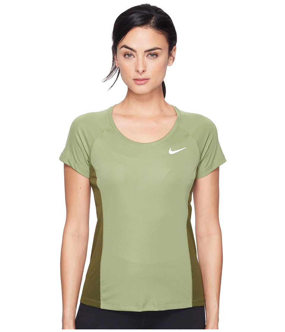 Nike - Dry Miler Short Sleeve Running Top (Palm Green/Legion Green/Reflective Silver) Women's Clothing
