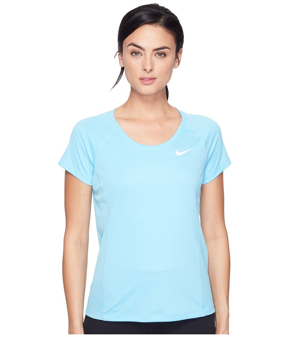 Nike - Dry Miler Short Sleeve Running Top (Vivid Sky/Vivid Sky) Women's Clothing