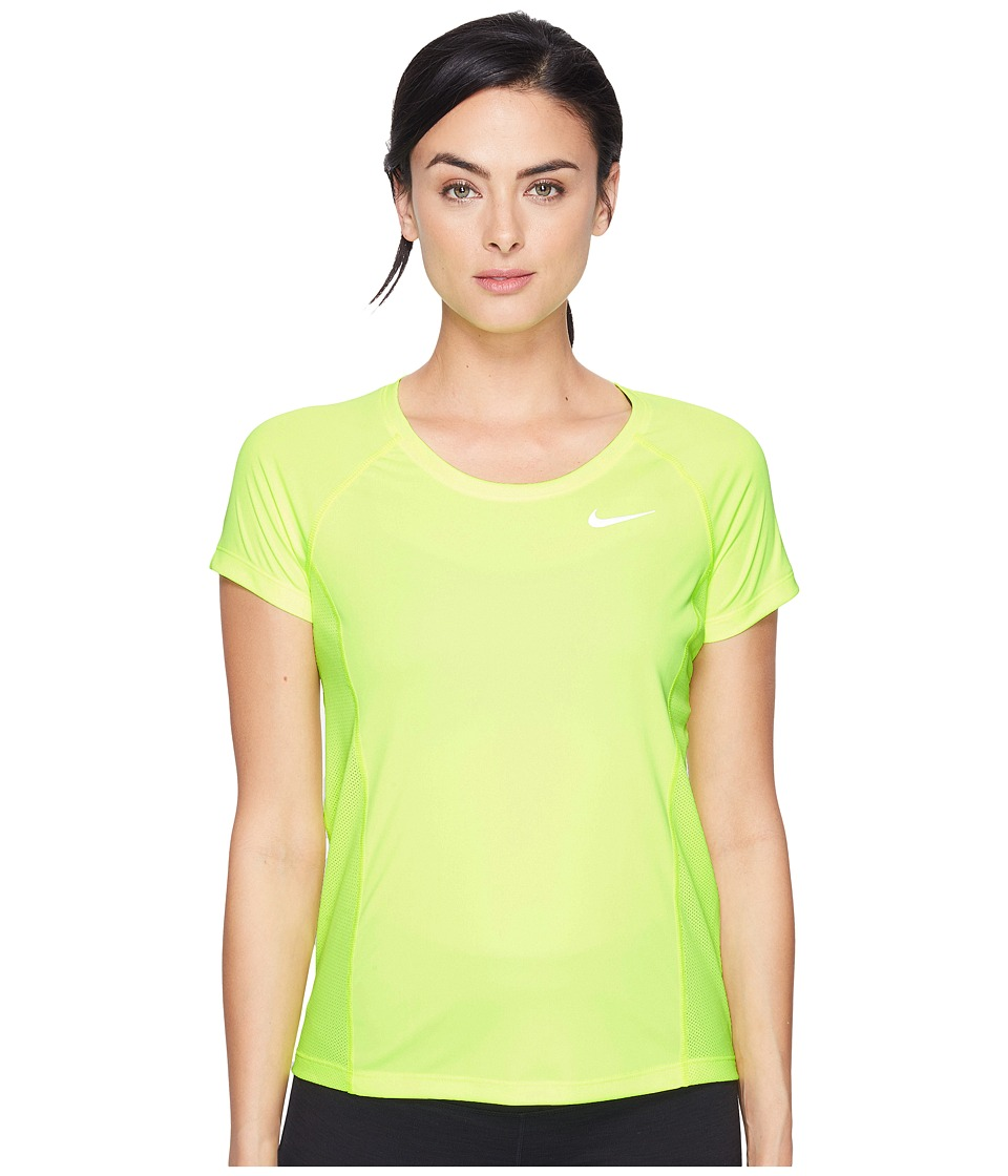 Nike - Dry Miler Short Sleeve Running Top (Volt/Volt) Women's Clothing