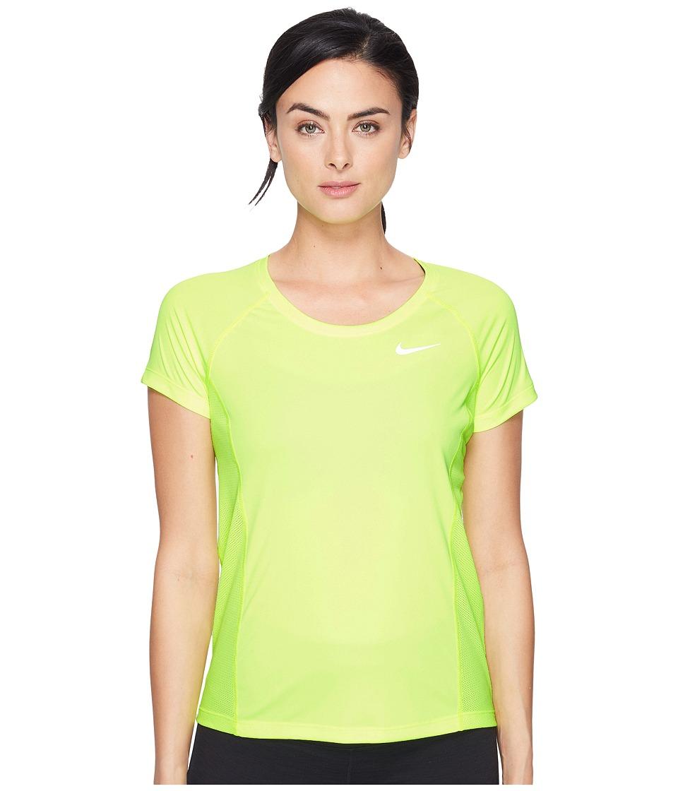 Nike - Dry Miler Short Sleeve Running Top (Volt/Volt) Women's Clothing