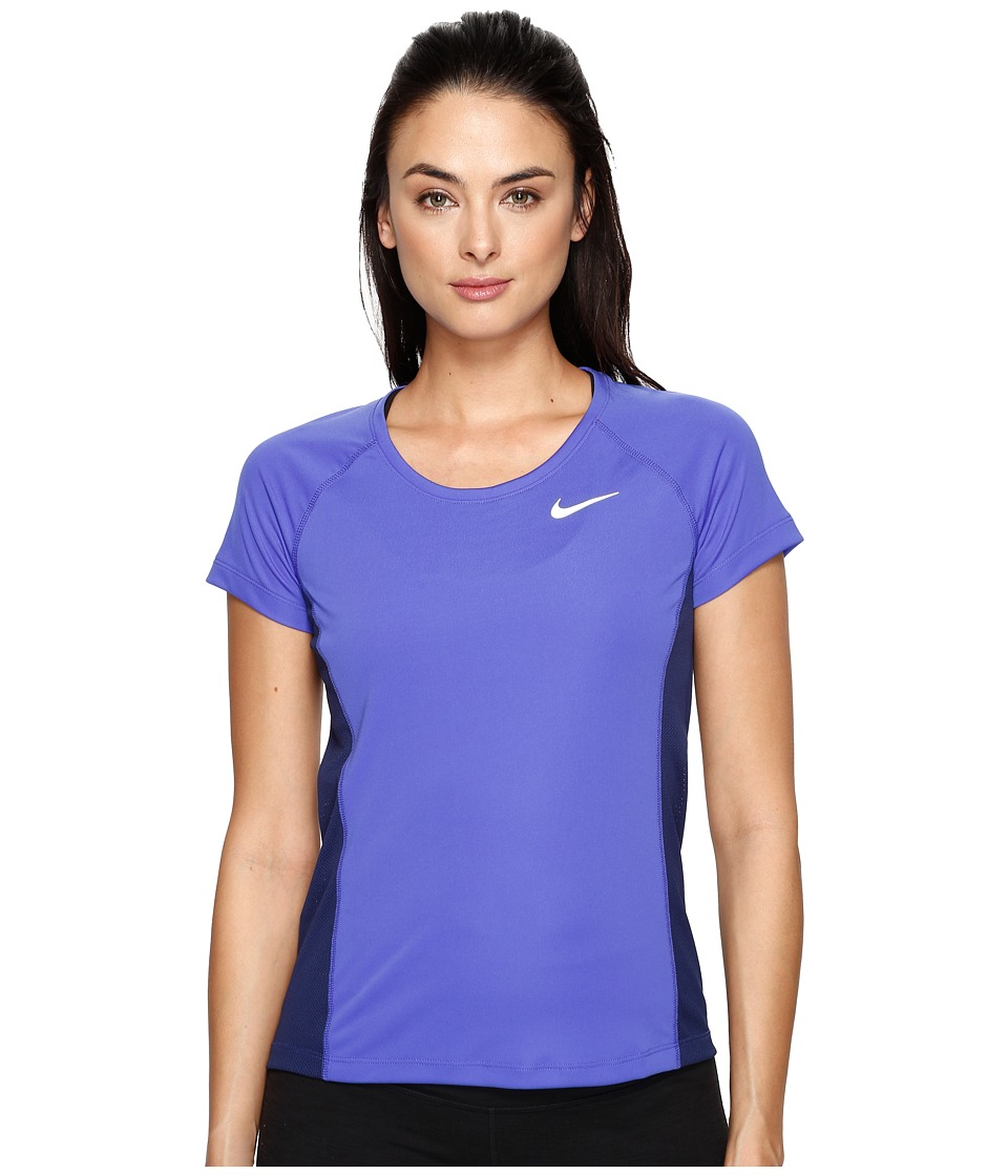 Nike - Dry Miler Short Sleeve Running Top (Paramount Blue/Binary Blue) Women's Clothing