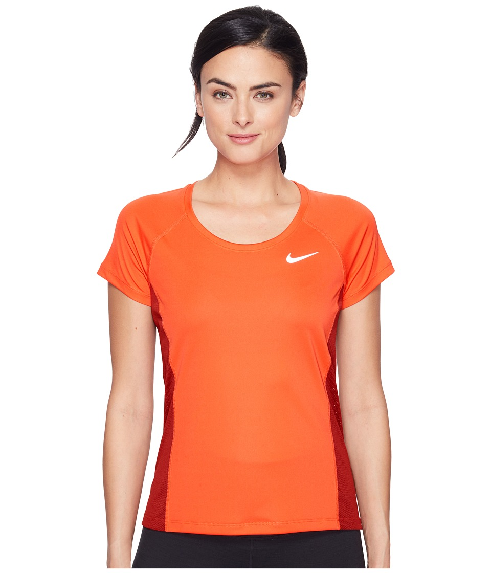 Nike - Dry Miler Short Sleeve Running Top (Max Orange/Dark Cayenne) Women's Clothing