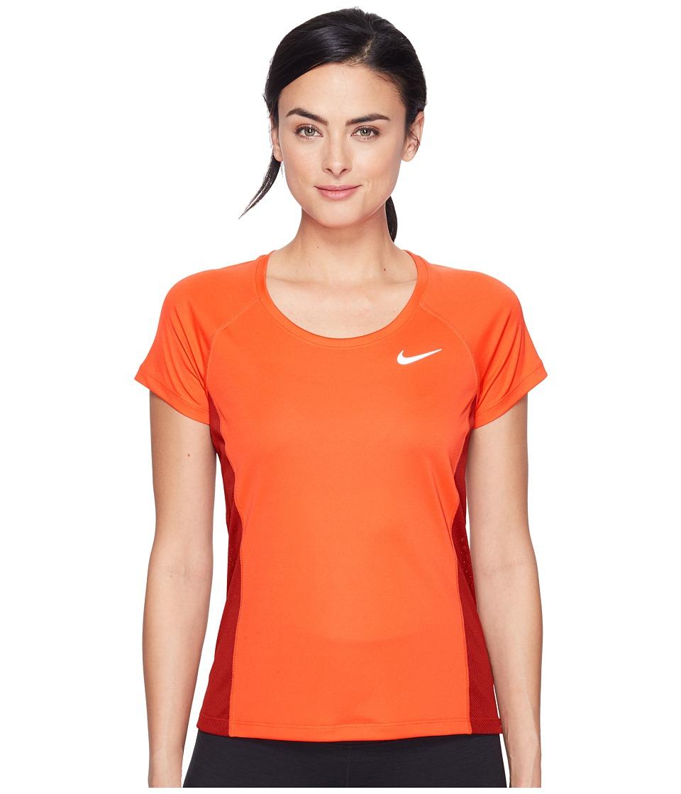 Nike - Dry Miler Short Sleeve Running Top (Max Orange/Dark Cayenne) Women