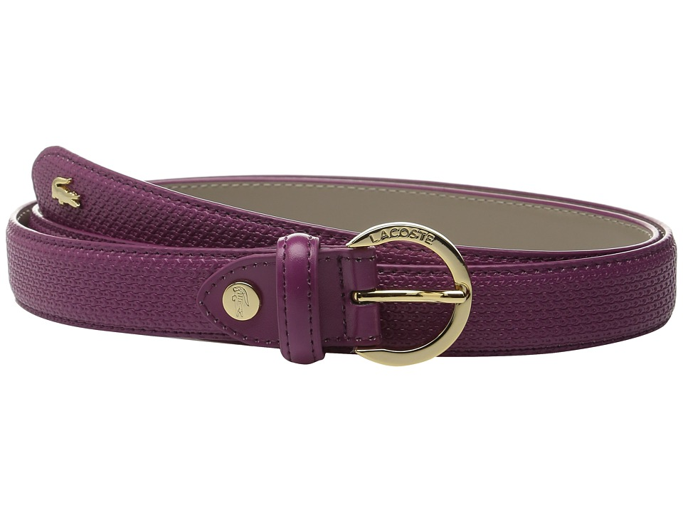 Lacoste - Premium Chantaco Coated Leather Belt (Boysenberry) Women's Belts