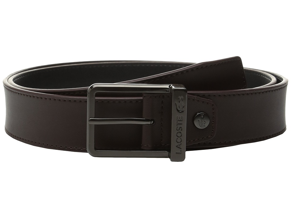 Lacoste - Classic Logo Embossed Buckle Belt (Brown 1) Men's Belts