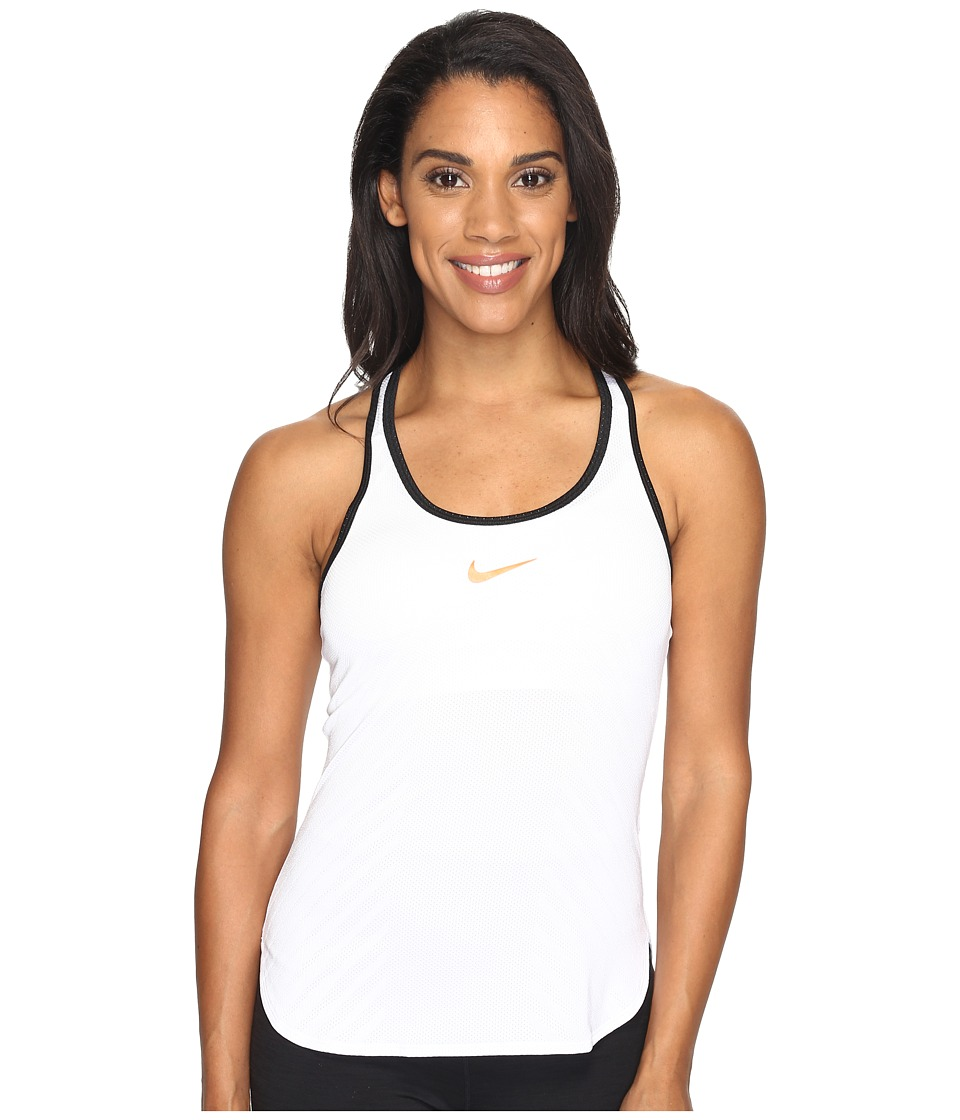 Nike - Court Tennis Tank (White/Black/Hyper Orange) Women's Clothing