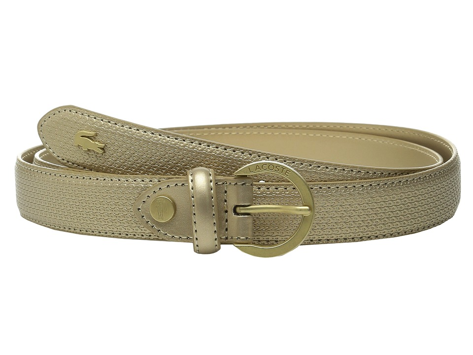 Lacoste - Premium Chantaco Coated Leather Belt (Gold) Women's Belts