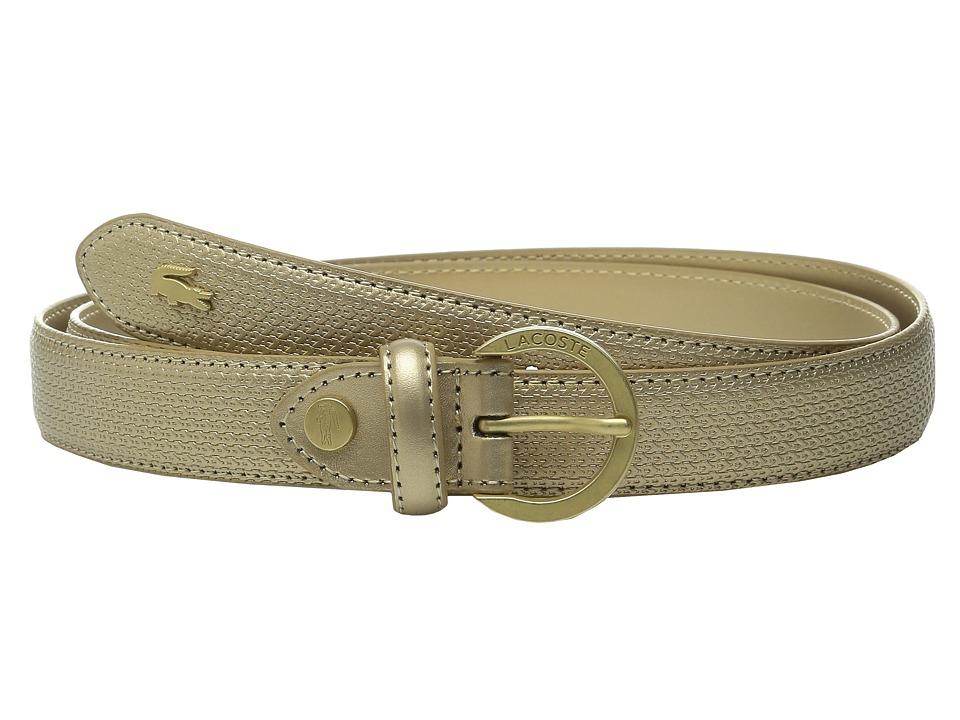 Lacoste - Premium Chantaco Coated Leather Belt (Gold) Women's Belts
