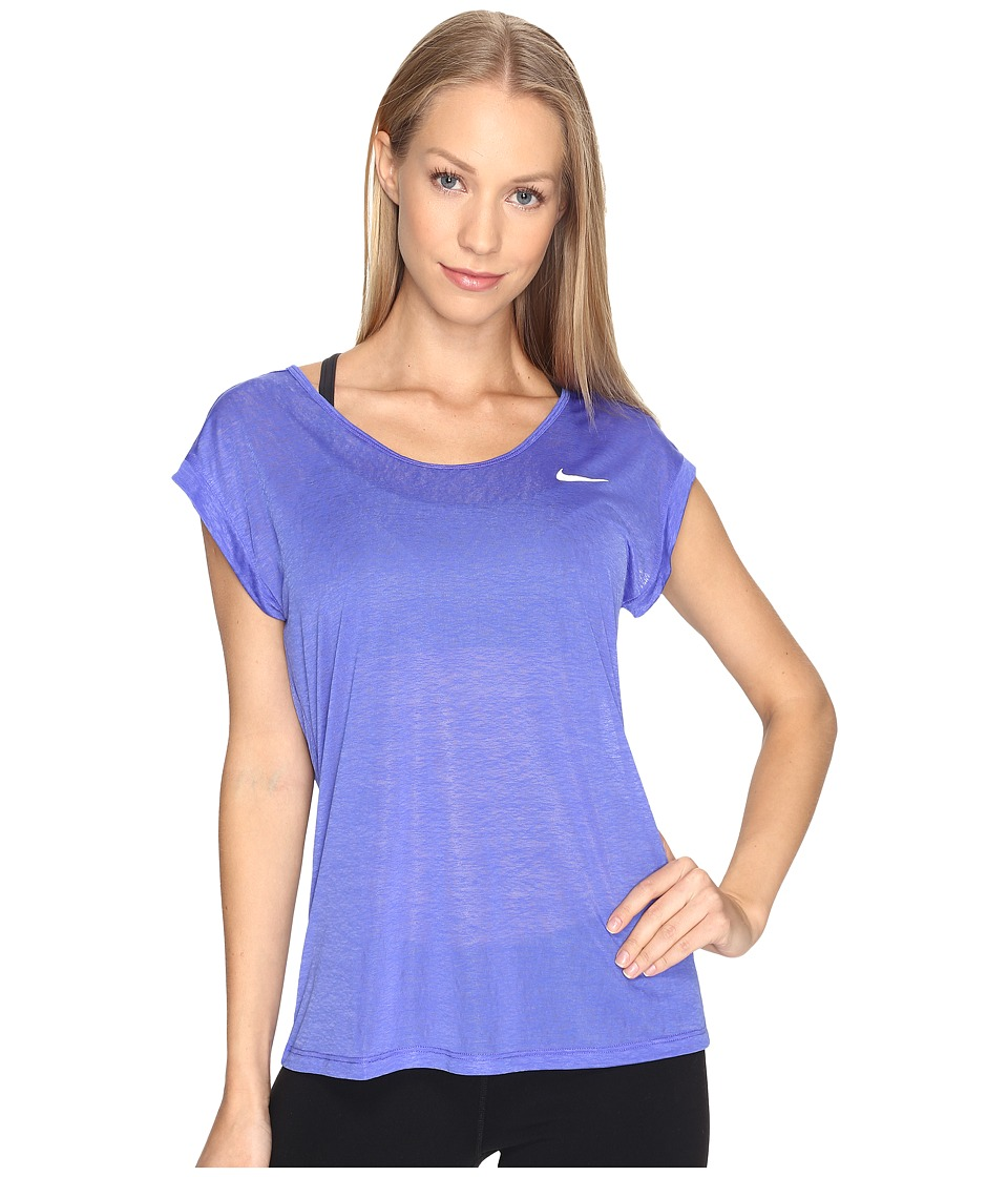 Nike - Dri-FIT Cool Breeze Running Top (Paramount Blue/Reflective Silver) Women's Short Sleeve Pullover