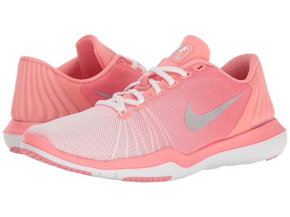 Nike - Flex Supreme TR 5 Prm (White/Matte Silver/Bright Melon) Women's Cross Training Shoes