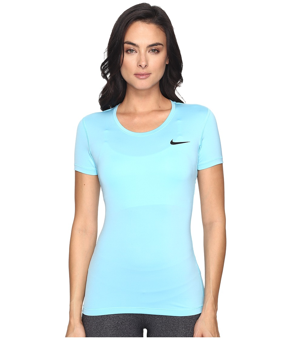 Nike - Pro Cool Short Sleeve Shirt (Vivid Sky/Black) Women's Short Sleeve Pullover