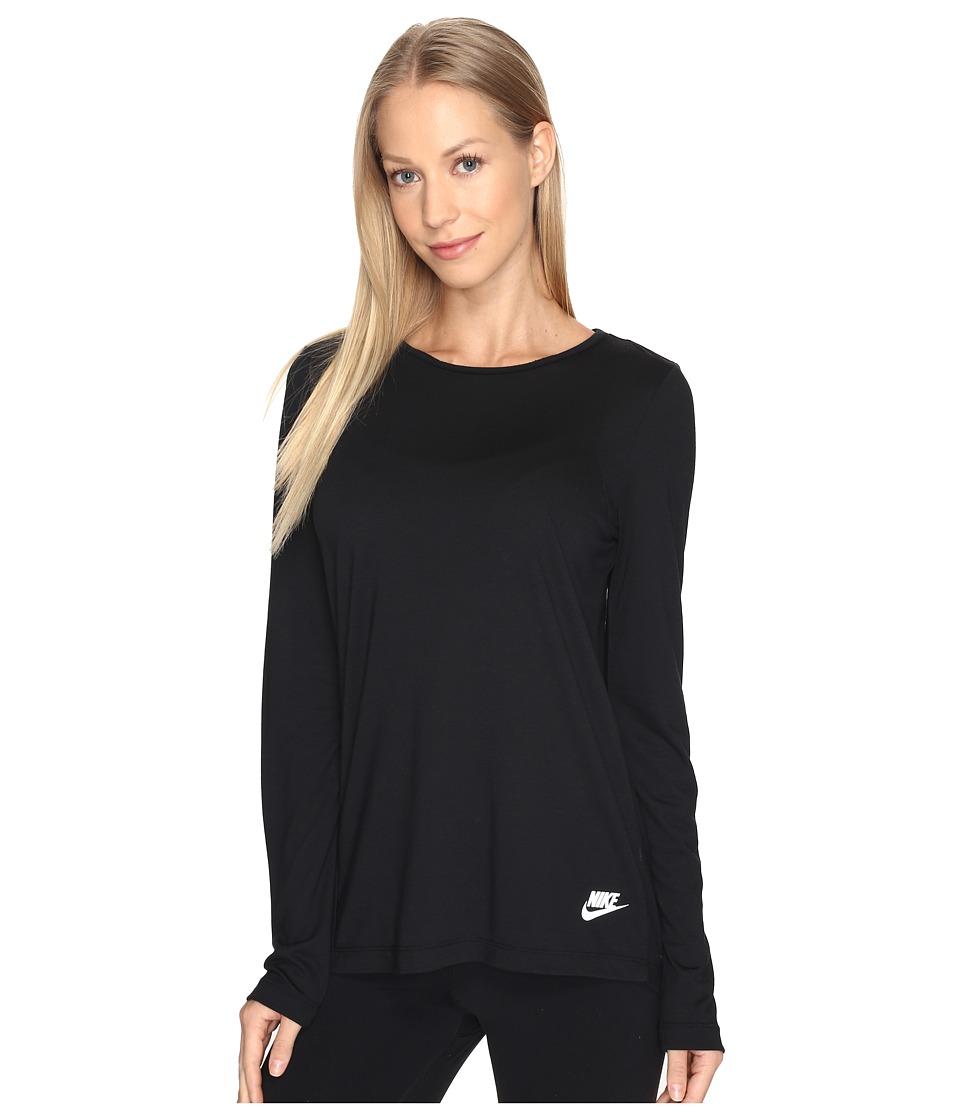 Nike Sportswear Essential Long Sleeve Top (Black/Black/White) Women