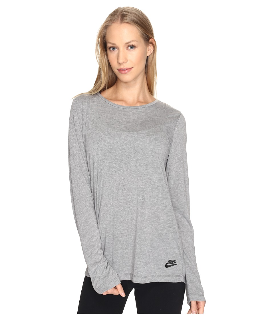 Nike Sportswear Essential Long Sleeve Top (Carbon Heather/Anthracite/Black) Women
