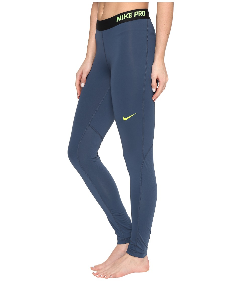 Nike - Pro Cool Tights (Squadron Blue/Squadron Blue/Volt) Women's Workout