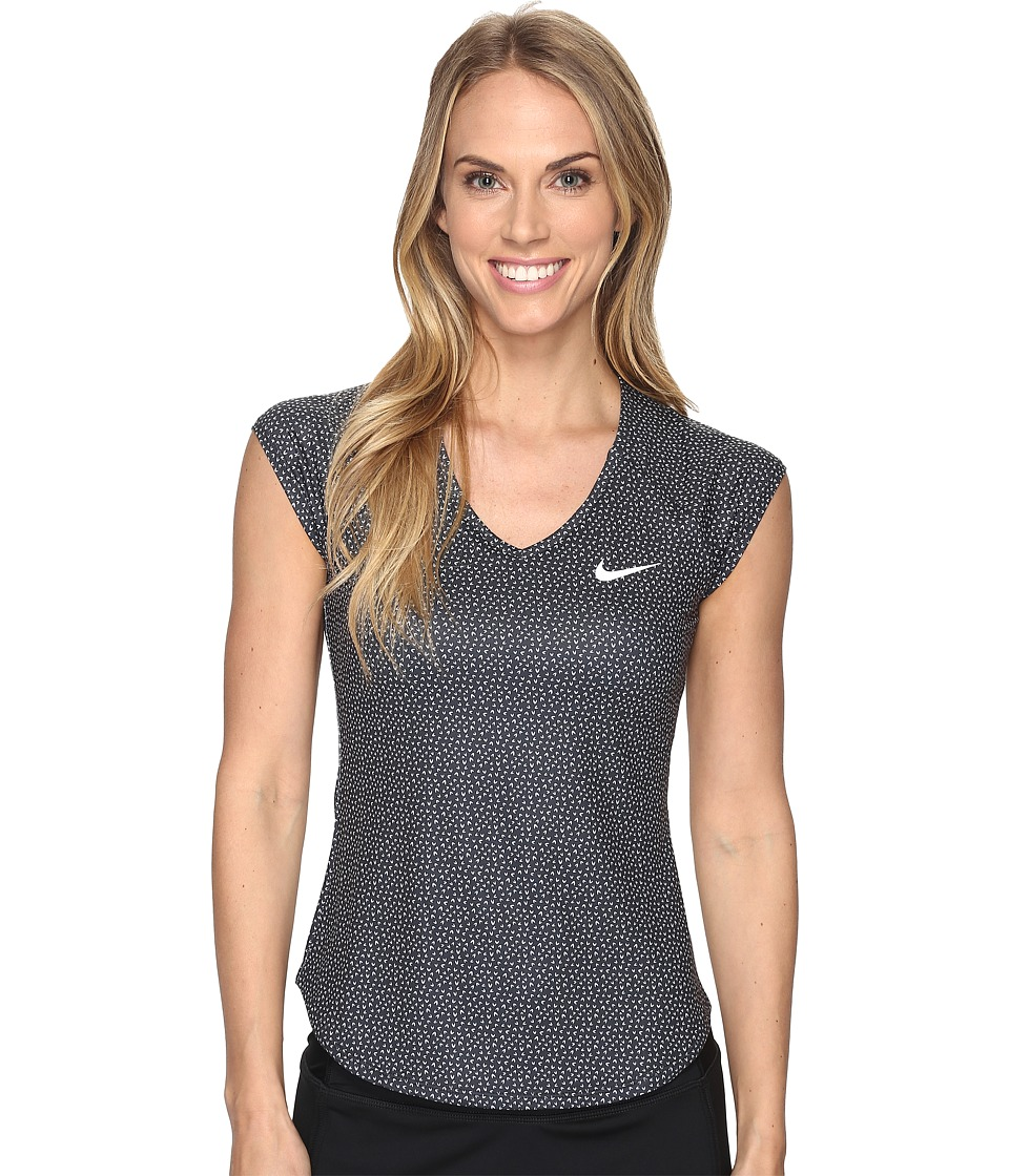 Nike - Court Pure Printed Tennis Top (Black/White) Women's Clothing