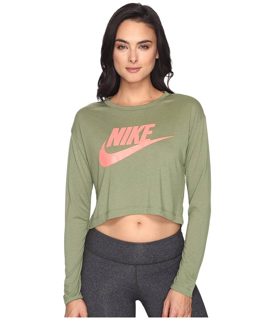 Nike - Sportswear Irreverent Crop Top (Palm Green/Palm Green/Lava Glow) Women's Clothing